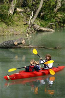 Kayakers navigate along the Paddling Trail